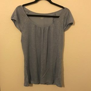LOFT periwinkle short sleeve 100% linen top